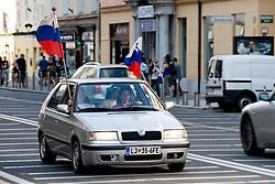 Slovenian supporters with a car in Ljubljana during the 2010 FIFA World Cup South Africa Group C Third Round match between Slovenia and England on June 23, 2010, in Ljubljana, Slovenia. (Photo by Matic Klansek Velej / Sportida) / SPORTIDA PHOTO AGENCY