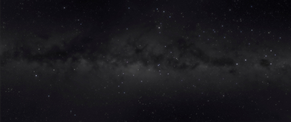 A panorama of the centre of the Galaxy portion of the southern hemisphere Milky Way, from Crux at right to Aquila at left. This was taken from Atacama Lodge near San Pedro de Atacama, Chile, on May 2, 2011. It is a 6-segment mosaic, each segment being 4 x 6 minutes + 1 x 6 minutes with a Kenko Softon filter, all at f/4 and ISO 800 with the Canon 5D MkII and Canon L-series 35m lens. Note the sweep of bright blue stars from Scorpius to Orion but angled above then across and below the Milky Way — this is Gould's Belt of new hot stars near us.