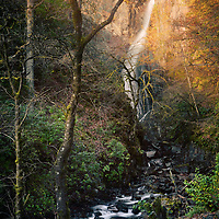 Last light falling on the grey mare's tail falls, Kinlochleven