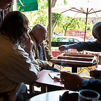 Men playing backgammon in a cafe in Thessaloniki, Greece.