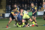 Will Spencer is tackled by Ross Harrison during the Aviva Premiership match between Worcester Warriors and Sale Sharks at Sixways Stadium, Worcester, United Kingdom on 1 December 2017. Photo by Daniel Youngs.
