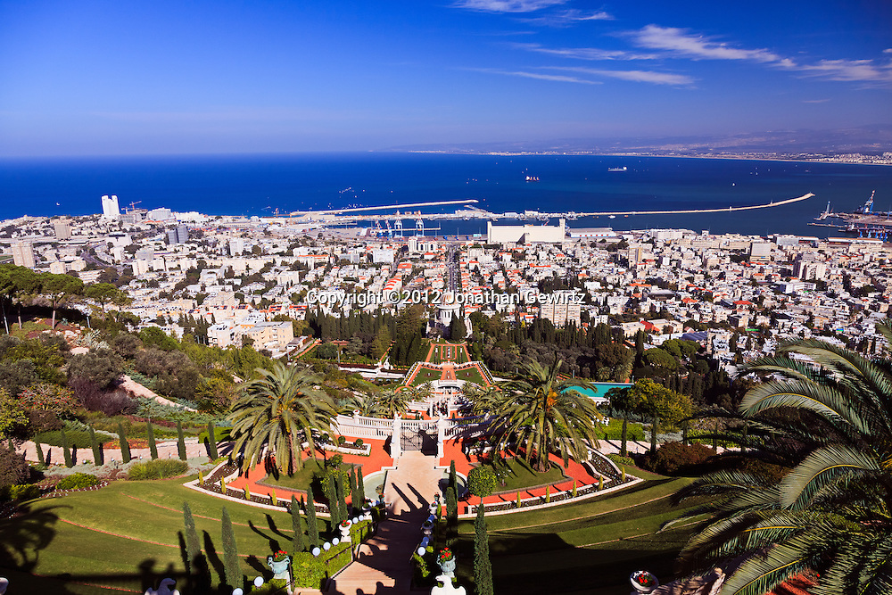 Haifa's German Colony, Bahai temple and gardens, Sderot Ben Gurion (street), port and harbor are visible in this view from the slopes of Mount Carmel. WATERMARKS WILL NOT APPEAR ON PRINTS OR LICENSED IMAGES.