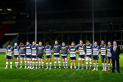 The Bristol Rugby players and Chris Booy line up for a minutes silence for the upcoming Remembrance Day - Mandatory byline: Rogan Thomson/JMP - 06/11/2015 - RUGBY UNION - Ashton Gate Stadium - Bristol, England - Bristol Rugby v Doncaster Knights - Greene King IPA Championship.