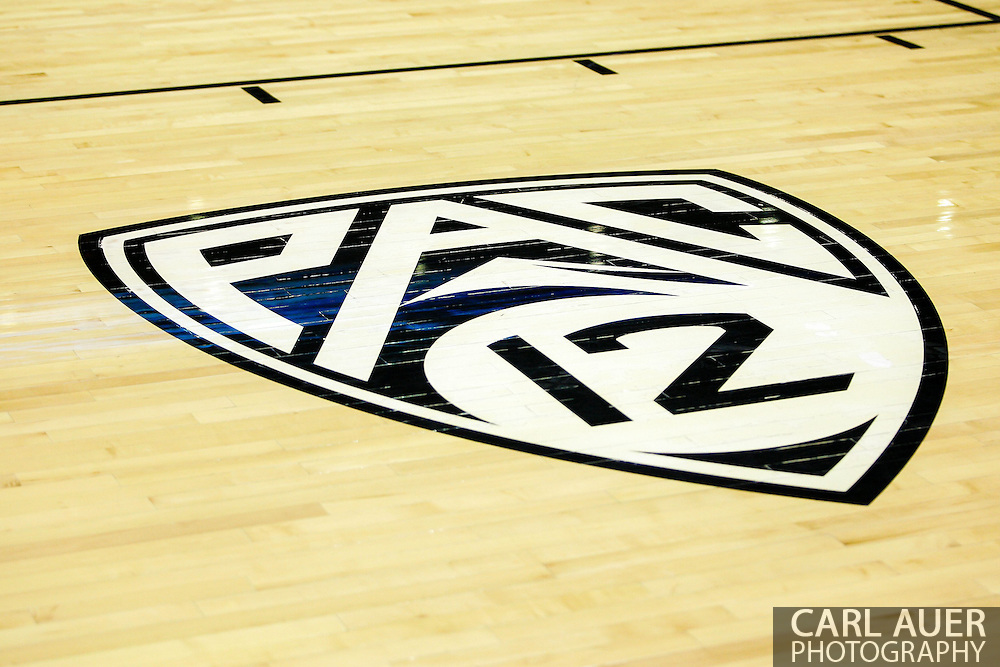 January 2nd, 2014:  the PAC-12 logo on the court prior to the start of the NCAA Basketball game between the Oregon State Beavers and the University of Colorado Buffaloes at the Coors Events Center in Boulder, Colorado