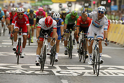 July 29, 2018 - Paris Champs-Elysees, France - PARIS CHAMPS-ELYSEES, FRANCE - JULY 29 : KRISTOFF Alexander (NOR) of UAE Team Emirates celebrates the win, DEGENKOLB John (GER) of Trek - Segafredo, DEMARE Arnaud (FRA) of FDJ  during stage 21 of the 105th edition of the 2018 Tour de France cycling race, a stage of 116 kms between Houilles and Paris Champs-Elysees on July 29, 2018 in Paris Champs-Elysees, France, 29/07/18 (Credit Image: © Panoramic via ZUMA Press)