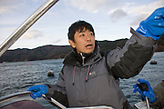 Takeshi Tachibana stands aboard a boat in the bay at Ogatsu, Ishinomaki, Miyagi Prefecture, Japan on 01 Dec 2011. .Photographer: Robert Gilhooly