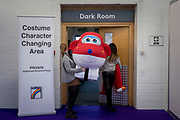 UNITED KINGDOM, London: 22 January 2019. A costume of Super Wings character 'Jett' is taken into the dressing room at The Toy Fair 2019 being held at Olympia London this morning. The Toy Fair, which runs between 22nd-24th of January, is the UK's largest toy trade event with over 250 exhibiting companies launching thousands of new products. <br /> Rick Findler / Story Picture Agency