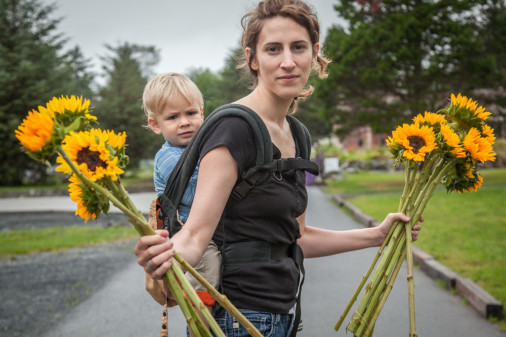 Maggie Gallein and her two year old son, Theo, on the campus of the Sitka Fine Arts Camp.