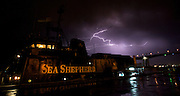 Lightning storm the night before Sea Shepherd ship, the M/Y Steve Irwin leaves dock in Brisbane to embark on Operation Musashi, its 2008-2009 camapaign to stop Japanese whaling operations in Antarctica's Southern Ocean. (Photo by Adam Lau)