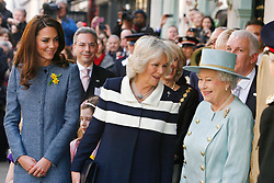 LONDON,ENGLAND-1-MAR-2012- Britain's Queen Elizabeth, Camilla, Duchess of Cornwall and Catherine, Duchess of Cambridge visit the Fortnum and Mason store in central London.Photo Ian Jones Photography..