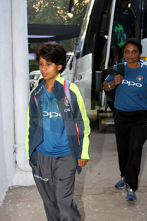 Poonam Yadav of India arrive on the ground for the first women's one day International ( ODI ) match between India and Australia held at the Reliance Cricket Stadium in Vadodara, India on the 12th March 2018<br /> <br /> Photo by Vipin Pawar / BCCI / SPORTZPICS