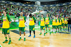 Team Brasil during friendly basketball match between National Teams of Slovenia and Brasil at Day 2 of Telemach Tournament on August 22, 2014 in Arena Stozice, Ljubljana, Slovenia. Photo by Vid Ponikvar / Sportida