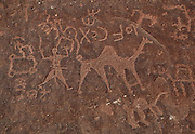 Petroglyphs depicting hunting scenes on a cliff face at Wadi Rum, Jordan. Here we see men with camels hunting various animals. Thamudic, Nabataean and Arabic inscriptions testify to widespread literacy in these peoples. In Wadi Rum there are 25,000 rock carvings and 20,000 inscriptions produced over 12,000 years of habitation, from Neolithic to Nabataean. Picture by Manuel Cohen