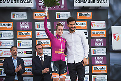 Anna van der Breggen (NED) of Boels-Dolmans Cycling Team retained the UCI WWT leader's jersey after Liege-Bastogne-Liege - a 136 km road race, between Bastogne and Ans on April 22, 2018, in Wallonia, Belgium. (Photo by Balint Hamvas/Velofocus.com)