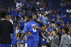 The Kentucky Alumni Men's Basketball team hosted the University of North Carolina Alumni in a charity game, Sunday, Sept. 13, 2015 at Rupp Arena in Lexington. <br /> <br /> Photo by Jonathan Palmer