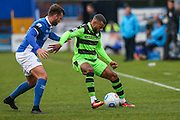 Forest Green Rovers Dan Wishart(17) shields the ball during the Vanarama National League match between Macclesfield Town and Forest Green Rovers at Moss Rose, Macclesfield, United Kingdom on 12 November 2016. Photo by Shane Healey.