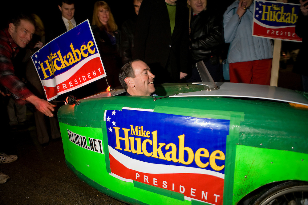 Republican presidential hopeful and former Arkansas governor Mike Huckabee campaigns at a polling station in Londonderry, N.H., on Tuesday, Jan. 8, 2008.