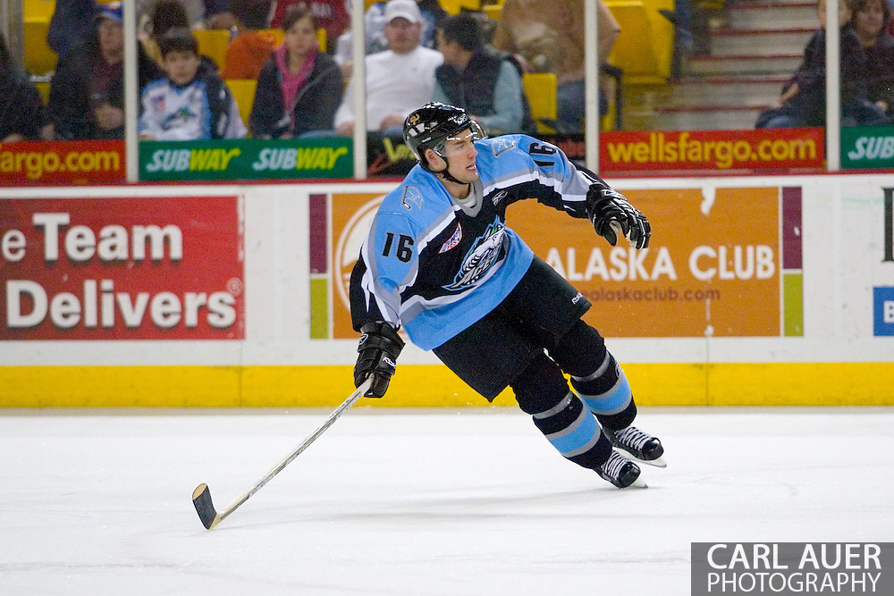 19 February, 2006 - Anchorage, AK:  Aces center Ryan Ramsay (16) reaches to attempt a steal as the Alaska Aces take a overtime victory, 3-2 against the visiting Long Beach IceDogs at the Sullivan Arena.