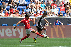 July 28, 2018 - Harrison, New Jersey, United States - SL Benfica defender YURI RIBEIRO (15) fights for the ball against a Juventes player during the International Champions Cup at Red Bull Arena in Harrison, NJ.  Juventes defeats SL Benfica 1-1  (Credit Image: © Mark Smith via ZUMA Wire)