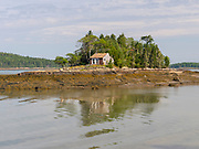 Morning view of a cabin on a small island in Ripley Cove, Maine, USA.