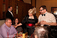 "(from left, standing) J. Gary Thompson, Tamra and Jerry Francis during Mayhem & Mystery's production of ""Counterfeit Cliffhanger"" at the Spaghetti Warehouse in downtown Dayton, Monday, May 2, 2011."
