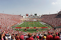 7 October 2006: Wide overall view of the stadium looking east during  NCAA College Football Pac-10 USC Trojans 26-6 win over the Washington Huskies at the LA Coliseum during a sunny saturday game in Los Angeles, CA. Fans fill landmark stadium. College Sports Stadium. Home football team is the USC Trojans.