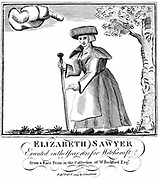 Elizabeth Sawyer, executed as a witch in England 1621. Engraving
