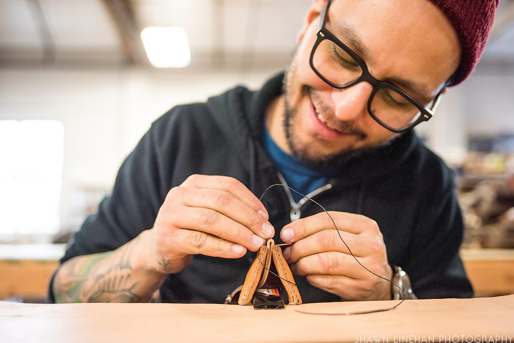 Eduardo Miranda hand stitches practically all the watch bands at Tanner Goods.