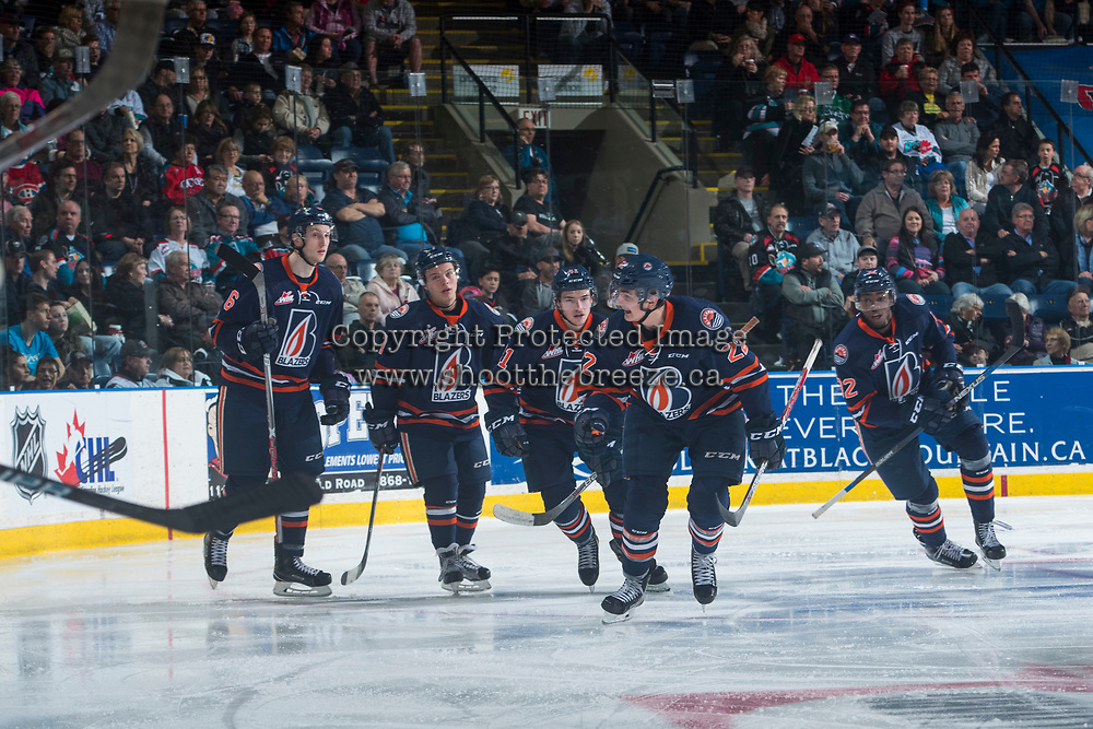 KELOWNA, CANADA - MARCH 31: Dallas Valentine #6, Luke Zazula #7, Garrett Pilon #41, Quinn  Benjafield #22 and Jermaine Loewen #32 of the Kamloops Blazers skate to the bench to celebrate a goal against the Kelowna Rockets on March 31, 2017 at Prospera Place in Kelowna, British Columbia, Canada.  (Photo by Marissa Baecker/Shoot the Breeze)  *** Local Caption ***