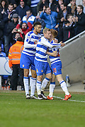 Reading FC striker Matej Vydra(centre) celebrates his goal during the The FA Cup fourth round match between Reading and Walsall at the Madejski Stadium, Reading, England on 30 January 2016. Photo by Mark Davies.