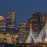 Boston skyline picture showing landmarks such as the Custom House of Boston, Leonard P. Zakim Bunker Hill Memorial Bridge, One International Place and the TD Bank North Garden photographed on a stunning night at twilight. This Boston skyline photography image is available as museum quality photography prints, canvas prints, acrylic prints or metal prints. Fine art prints may be framed and matted to the individual liking and decorating needs: <br /> <br /> http://juergen-roth.pixels.com/featured/boston-nightlight-juergen-roth.html<br /> <br /> All Boston photographs are available for digital and print image licensing at www.RothGalleries.com. Please contact me direct with any questions or request.<br /> <br /> Good light and happy photo making!<br /> <br /> My best,<br /> <br /> Juergen<br /> Prints: http://www.rothgalleries.com<br /> Photo Blog: http://whereintheworldisjuergen.blogspot.com<br /> Twitter: @NatureFineArt<br /> Instagram: https://www.instagram.com/rothgalleries<br /> Facebook: https://www.facebook.com/naturefineart