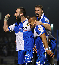 Bristol Rovers' Jerome Easter celebrates his goal with Bristol Rovers' Lee Brown and Bristol Rovers' Andy Monkhouse - Photo mandatory by-line: Dougie Allward/JMP - Mobile: 07966 386802 - 20/03/2015 - SPORT - Football - England - Memorial Stadium - Bristol Rovers v Aldershot - Vanarama Football Conference