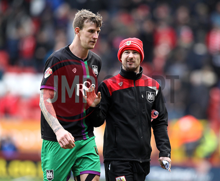 Bristol City's Caretaker Assistant Manager Wade Elliott  chats to Aden Flint - Mandatory byline: Robbie Stephenson/JMP - 06/02/2016 - FOOTBALL - The Valley - Charlton, England - Charlton Athletic v Bristol City - Sky Bet Championship