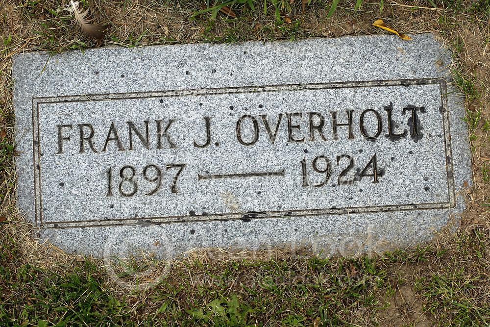 31 August 2017:   Veterans graves in Park Hill Cemetery in eastern McLean County.<br /> <br /> Frank J Overholt 1897 1924