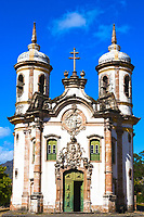 view of the Igreja de Sao Francisco de Assis of the unesco world heritage city of ouro preto in minas gerais brazil