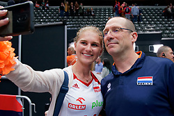 13-09-2019 NED: EC Volleyball 2019 Netherlands - Montenegro, Rotterdam<br /> First round group D Netherlands win 3-0 / Coach Roberto Piazza of Netherlands, polish fan