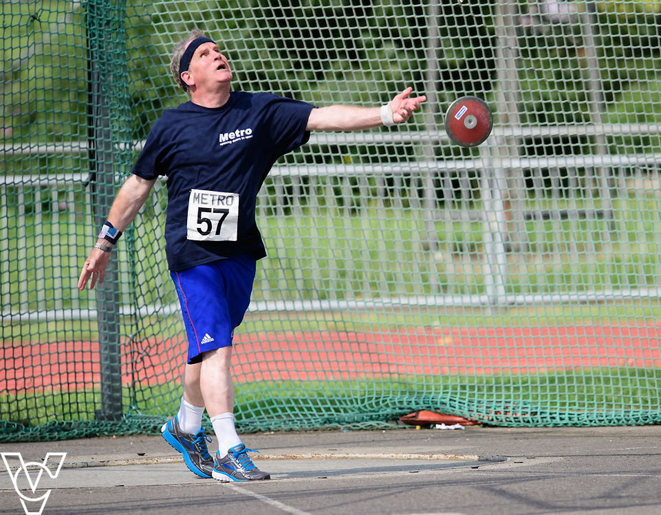 Metro Blind Sport's 2017 Athletics Open held at Mile End Stadium.  Discus.  Mike Brace<br /> <br /> Picture: Chris Vaughan Photography for Metro Blind Sport<br /> Date: June 17, 2017