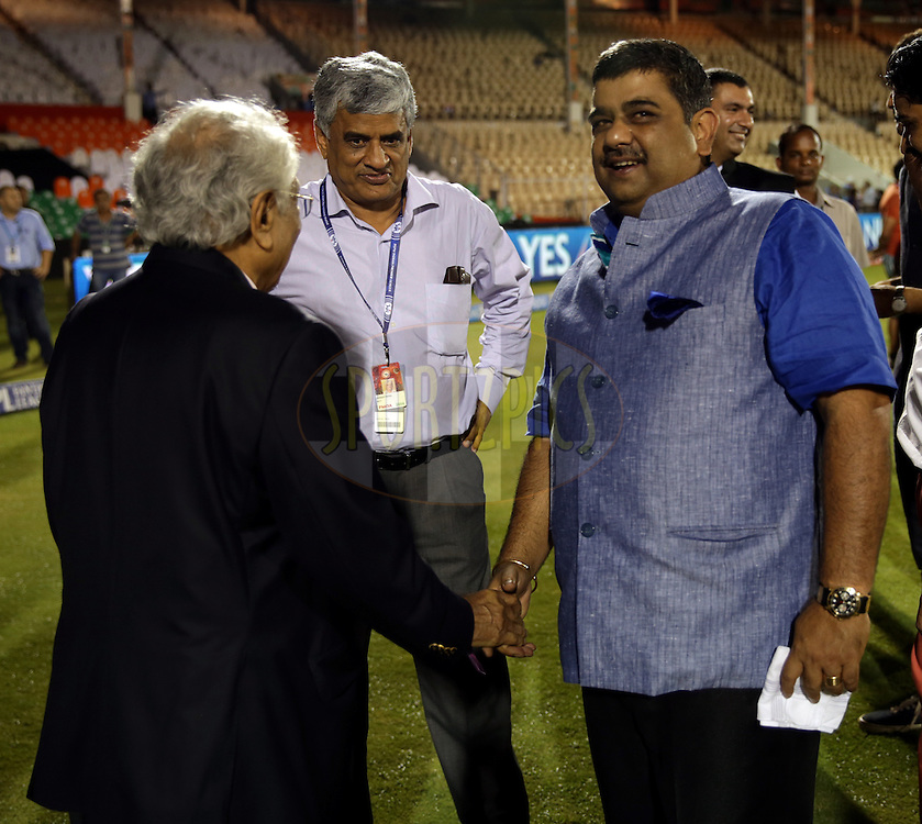 BCCI secretary Sanjay Pate and IPL CHairman Ranjib Biswal after the eliminator match of the Pepsi Indian Premier League Season 2014 between the Chennai Superkings and the Mumbai Indians held at the Brabourne Stadium, Mumbai, India on the 28th May  2014<br /> <br /> Photo by Sandeep Shetty / IPL / SPORTZPICS<br /> <br /> <br /> <br /> Image use subject to terms and conditions which can be found here:  http://sportzpics.photoshelter.com/gallery/Pepsi-IPL-Image-terms-and-conditions/G00004VW1IVJ.gB0/C0000TScjhBM6ikg