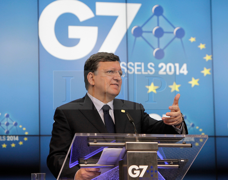 © Licensed to London News Pictures. 05/06/2014. Brussels, BELGIUM.<br /> Jose Manuel Barroso and Herman Van Rompuy, Presidents of the European council and commission give a press conference at the end of the G7 summit in Brussels, Belgium. Photo credit : RICH BOWEN/LNP