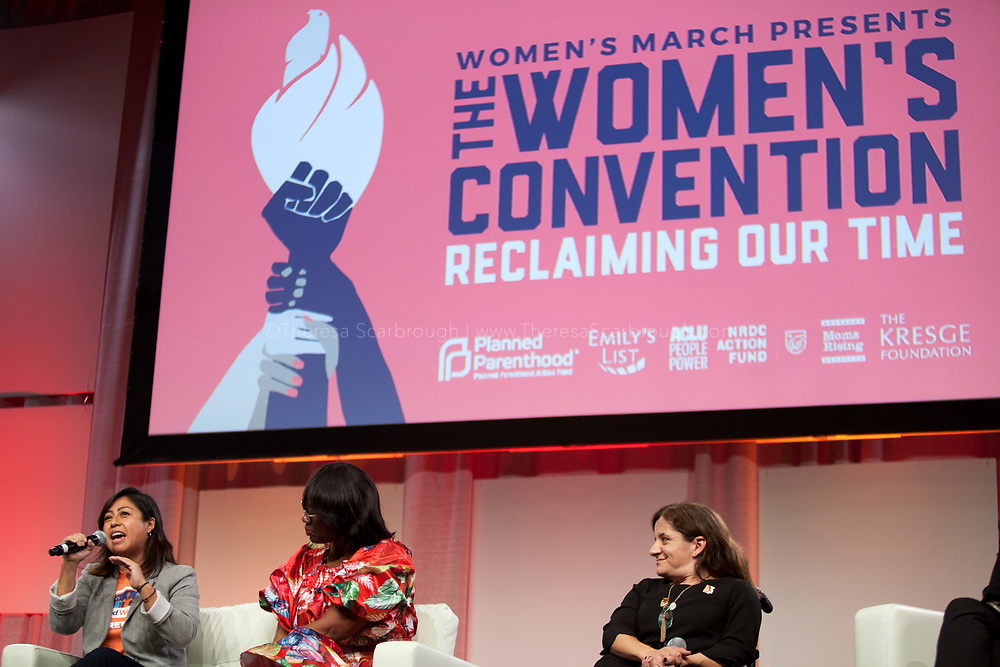 Detroit, Michigan, USA. 27th Oct, 2017. Cristina Jimenez (left), Managing Director of United We Dream, speaks as Senator Nina Turner (center) and Colleen Flanagan (right) look on during the Women's Convention held at the Cobo Center, Detroit Michigan, Friday, October 27, 2017