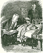 National Insurance Act of 1911, one of the social reforms introduced by the Liberal party. In the background observing Doctor Bill and his patient, a General Practicioner afraid the Act will ruin him, is Lloyd George, Chancellor of the Exchequer in Asquith's administration.  Bernard Partridge cartoon from 'Punch', London, 14 June 1911.