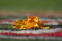 18 September 2011: A flag sits on the grass after a penalty during the  Cowboys 27-24 overtime victory against the 49ers in an NFL football game at Candlestick Park in San Francisco, CA
