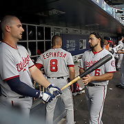 NEW YORK, NEW YORK - July 07: Clint Robinson #25,  Danny Espinosa #8 and Anthony Rendon #6 of the Washington Nationals in the dugout preparing to bat during the Washington Nationals Vs New York Mets regular season MLB game at Citi Field on July 07, 2016 in New York City. (Photo by Tim Clayton/Corbis via Getty Images)