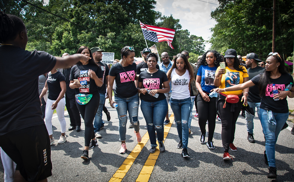 Saraland Alabama, May 20, 2018,<br /> Chikesia Clemons in the middle of supporters in Saraland Alabama during a  march seeking justice for her in Saraland, AL .