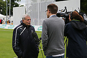 """Yorkshire CCC President Harold """"Dickie"""" Bird is interviewed by the BBC ahead of the Specsavers County Champ Div 1 match between Yorkshire County Cricket Club and Warwickshire County Cricket Club at York Cricket Club, York, United Kingdom on 17 June 2019."""