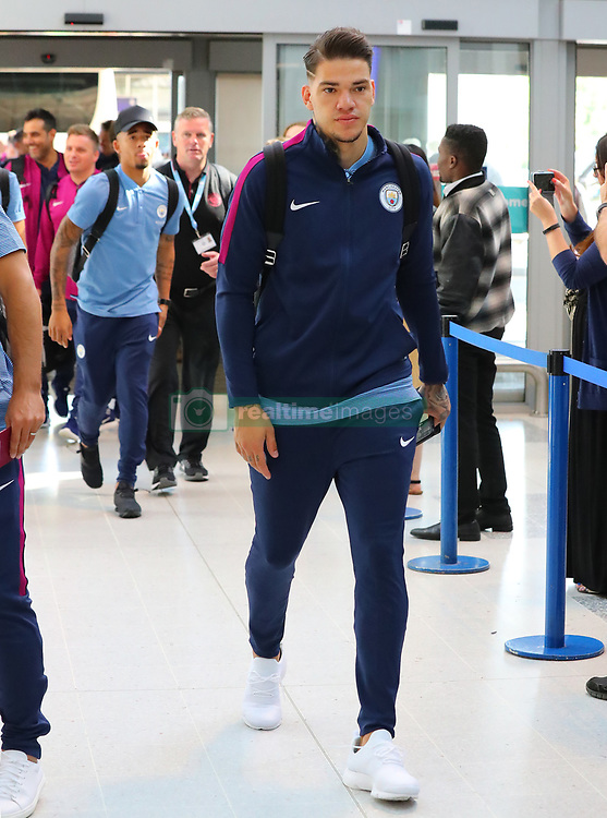 Ederson at Manchester Airport as the Manchester City team fly out to the USA on Monday morning to start their pre-season tour