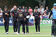 Leicestershire foxes celebrate the victory over Worcs Rapidsduring the Vitality T20 Blast North Group match between Worcestershire Rapids and Leicestershire Foxes at Blackfinch New Road, Worcester, United Kingdom on 4 August 2019.