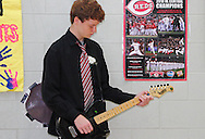 Keigen Richardson performs during the 8th grade recognition ceremony at Cleveland PK-8 School in Dayton, May 25, 2012.