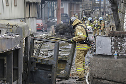 April 13, 2018 - Incheon, South Korea - A chemical processing plant west of Seoul has caught fire, blanketing the area with thick, dark smoke and potentially leaking toxic substances, firefighters said Friday. No casualties have been reported. The blaze started at around 11:50 a.m. in a chemical recyling factory in Incheon. A witness made the call to the emergency services saying ''pillars of dark smoke are surging'' from the plant.  No reports of casualties from the factory have been made, authorities said. One fireman suffered an injury to his ankle and a fire truck has been gutted by fire after it caught flame.  Fire authorities have mobilized all available forces, including 430 firefighters and 80 vehicles, in the area and are working to put out the blaze. They also issued a third-phase warning, the highest level of alert. But the thick and toxic fumes are hindering them making their way into the factory, the authorities said. The authorities have evacuated about 300 workers from nearby buildings. The firefighters said they are figuring out how many people were inside the factory before the fire broke out. The industrial complex to which the factory belongs houses nine companies, mostly dealing with oil waste processing. (Credit Image: © Ryu Seung-Il via ZUMA Wire)