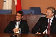 ROMA 12 MAGGIO 2010<br /> BASKET FIP<br /> CONFERENZA STAMPA BELINELLI E CUZZOLIN<br /> NELLA FOTO MENEGHIN BELINELLI <br /> FOTO CIAMILLO